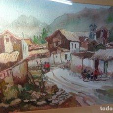 Arte: BONITA ACUARELA DE PAISAJE DE UN ANTIGUO PUEBLITO CUZQUEÑO - 52X42 - . Lote 80709422