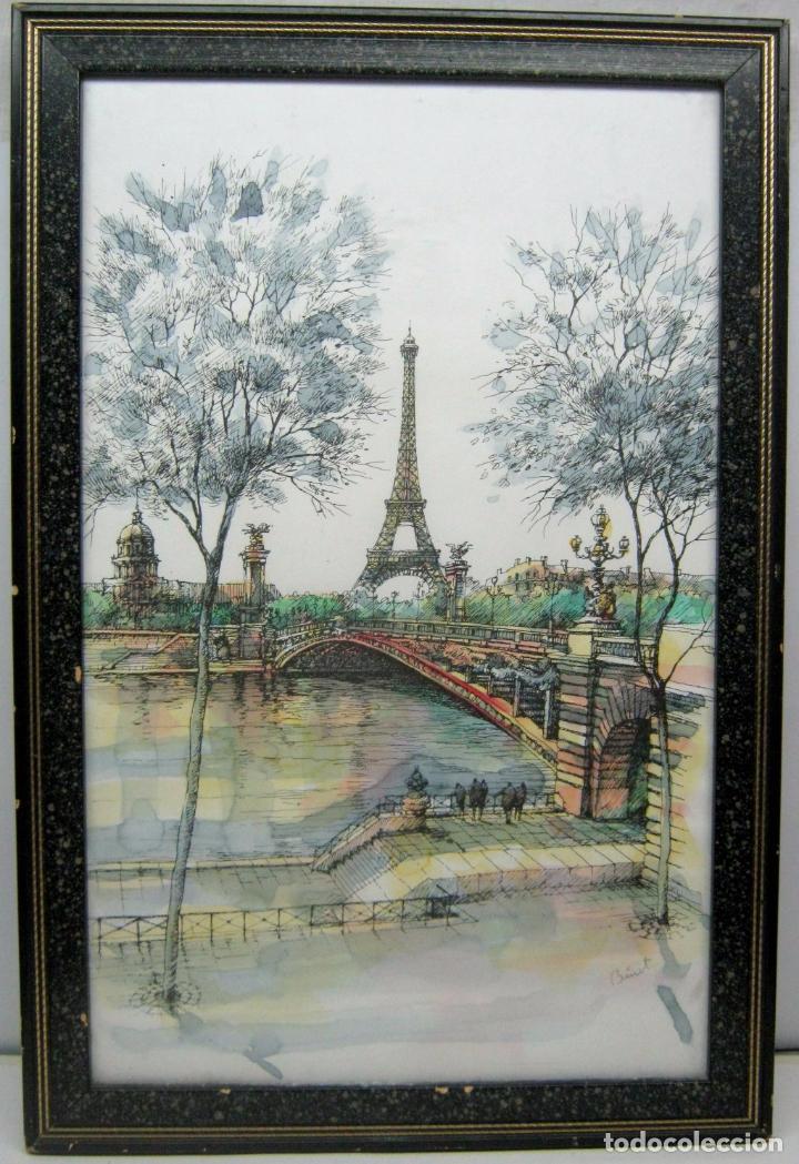 PARIS . LA TORRE EIFFEL Y EL SENA . 57 X 38 CM . BELLA ACUARELA FIRMADA (Arte - Acuarelas - Contemporáneas siglo XX)
