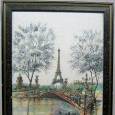 Arte: PARIS . LA TORRE EIFFEL Y EL SENA . 57 X 38 CM . BELLA ACUARELA FIRMADA. Lote 80860775