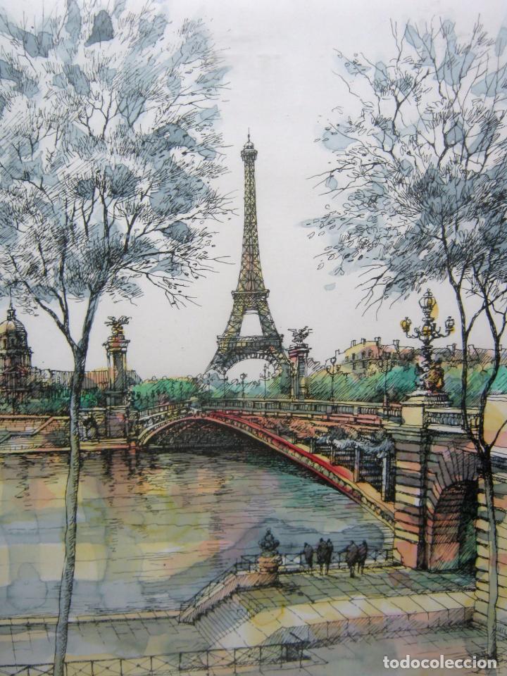 Arte: Paris . La Torre Eiffel y el Sena . 57 x 38 cm . Bella acuarela firmada - Foto 2 - 80860775