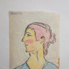 Arte: INTERESANTE RETRATO DE MUJER ORIGINAL A CARBONCILLO, FIRMADO Y FECHACO BASTIAN G. 36 EXPRESIONISMO. Lote 81055152