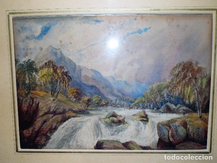 Arte: Antigua acuarela siglo XIX ESCUELA INGLESA - Foto 3 - 81113864