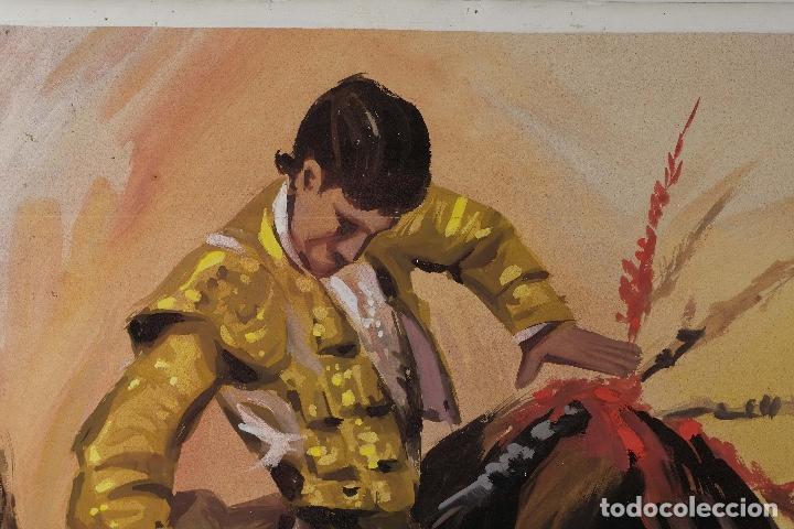 Arte: Acuarela sobre papel Escena taurina mediados siglo XX - Foto 2 - 81178956