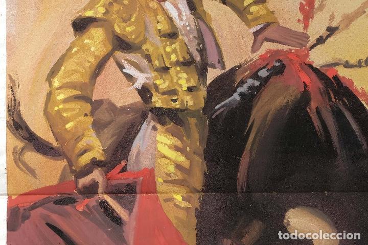 Arte: Acuarela sobre papel Escena taurina mediados siglo XX - Foto 3 - 81178956