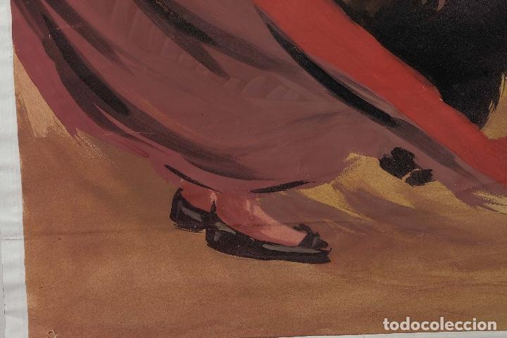 Arte: Acuarela sobre papel Escena taurina mediados siglo XX - Foto 6 - 81178956
