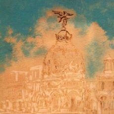 Arte: JR JUNYENT BÁRCENA, ACUARELA Y TINTA, GRAN VIA, EDIFICIO METROPOLIS, MADRID. ENMARCADO 53X62CM. Lote 81246204