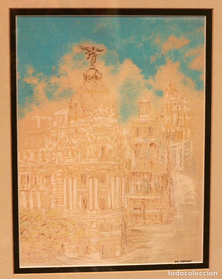 Arte: JR Junyent Bárcena, acuarela y tinta, gran via, edificio metropolis, madrid. Enmarcado 53x62cm - Foto 2 - 81246204
