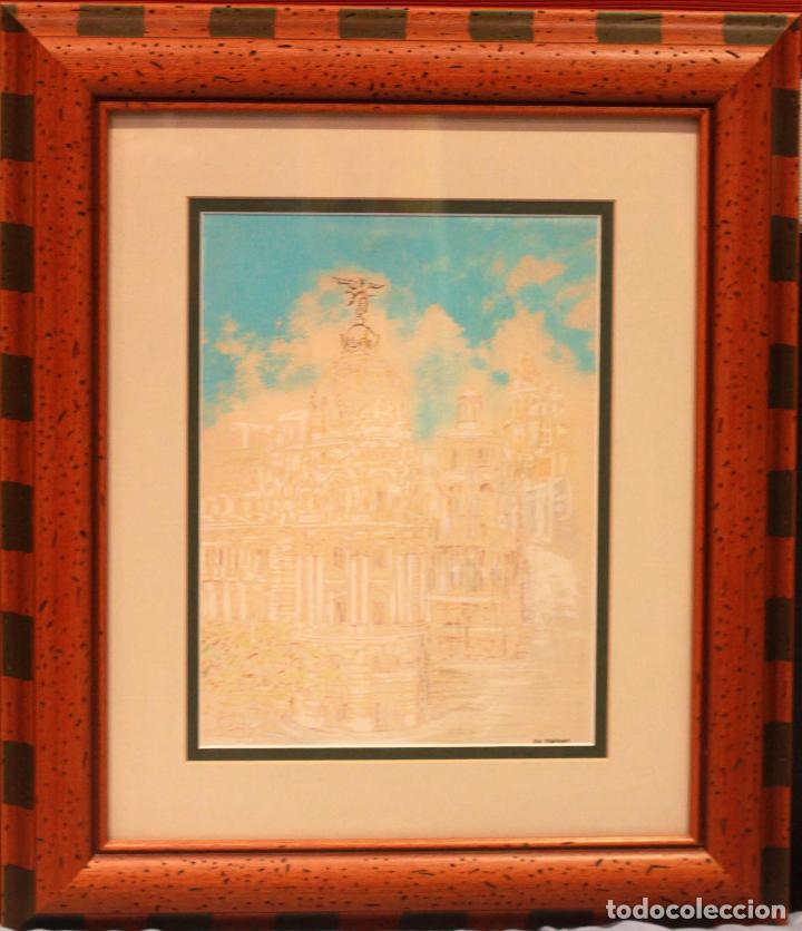 Arte: JR Junyent Bárcena, acuarela y tinta, gran via, edificio metropolis, madrid. Enmarcado 53x62cm - Foto 3 - 81246204