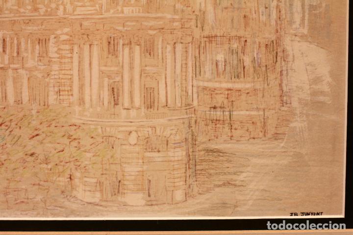Arte: JR Junyent Bárcena, acuarela y tinta, gran via, edificio metropolis, madrid. Enmarcado 53x62cm - Foto 5 - 81246204