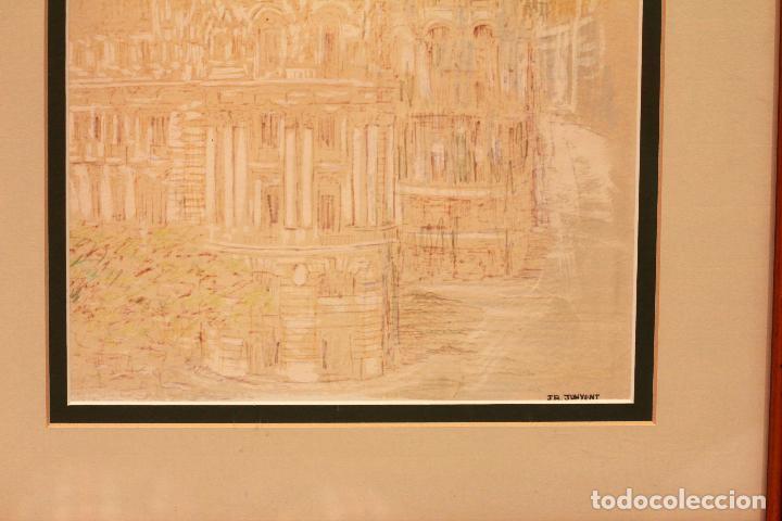 Arte: JR Junyent Bárcena, acuarela y tinta, gran via, edificio metropolis, madrid. Enmarcado 53x62cm - Foto 6 - 81246204
