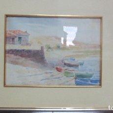 Arte: ACUARELA DEL PORTLLIGAT CADAQUÉS FIRMADA DOMINGO SOLER PPS DE 1900. Lote 81287724