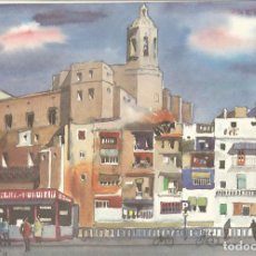 Arte: FEDERIC LLOVERAS – GIRONA – ACUARELA REPRODUCCIÓN EDITADA POR CAJA DE PENSIONES – 1975. Lote 81940280