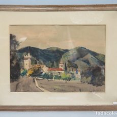 Arte: INTERESANTE VISTA RURAL. ACUARELA. JOAN TORRAS BACHS (1912-1984). FIRMADA Y FECHADA. Lote 81978404