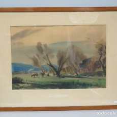 Arte: INTERESANTE VISTA RURAL. ACUARELA. JOAN TORRAS BACHS (1912-1984). FIRMADA Y FECHADA. Lote 81978944