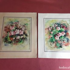 Arte: PAR DE ACUARELAS DE FLORES. FIRMADO PUIG. ESPAÑA. SIGLO XX. . Lote 82387588