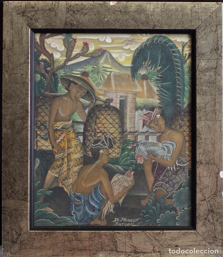 Arte: ke manggi batuan pintura original escuela de ubud, enmarcada. 27x31cm - Foto 2 - 82425024