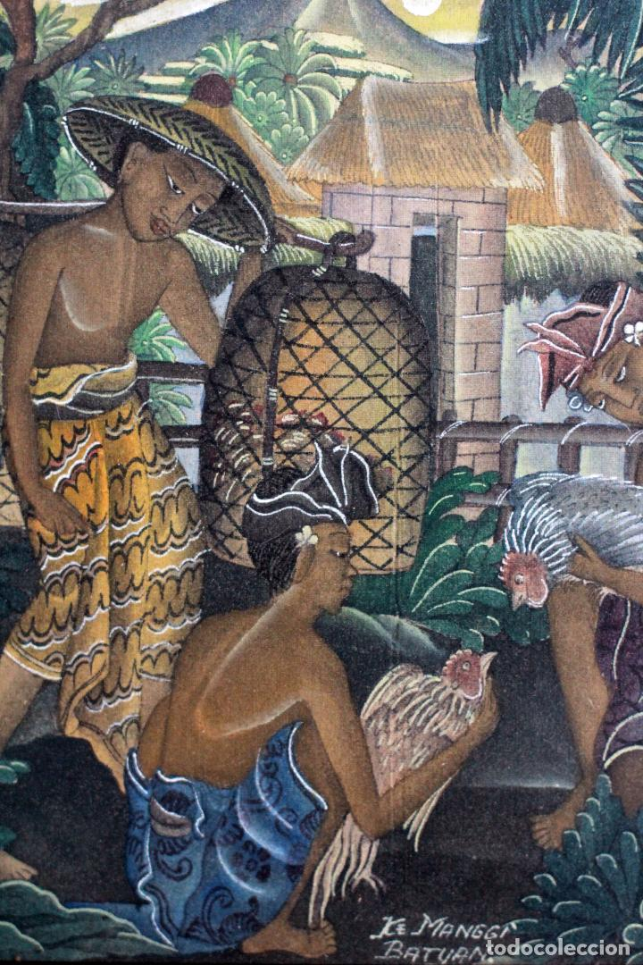 Arte: ke manggi batuan pintura original escuela de ubud, enmarcada. 27x31cm - Foto 3 - 82425024