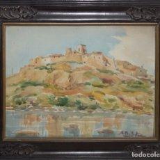 Arte: ACUARELA SOBRE PAPEL FIRMADA A. BALLESTER - TARDE PUIGDELFÍ TARRAGONA 1950. Lote 82473544