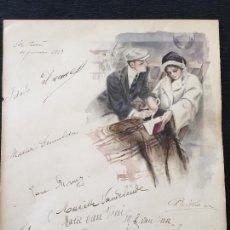Arte: ACUARELA, PAREJA EN CRUCERO. 1913. Lote 82737876