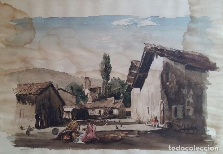 JOAN COLOM I AGUSTI-ARENYS DE MAR 1879-1969 , NAVARRA ,ACUARELA FDO. MED.44X57 (MANCHAS EN PAPEL ) (Arte - Acuarelas - Contemporáneas siglo XX)