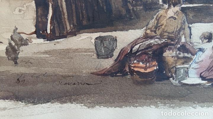Arte: Joan Colom I Agusti-Arenys de Mar 1879-1969 , Navarra ,acuarela Fdo. Med.44x57 (manchas en papel ) - Foto 2 - 82962276