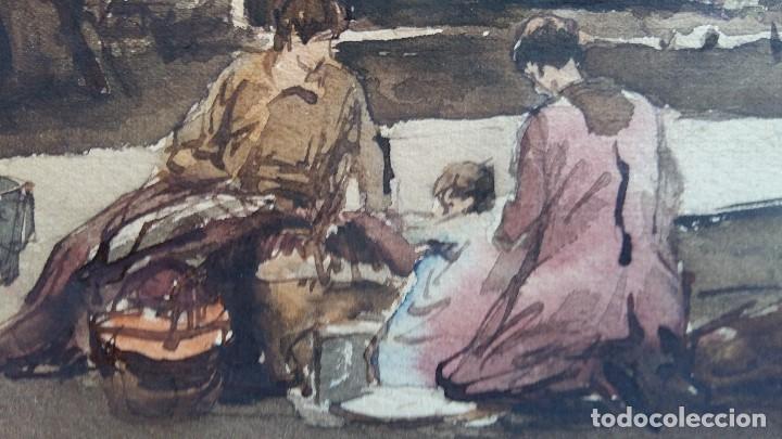 Arte: Joan Colom I Agusti-Arenys de Mar 1879-1969 , Navarra ,acuarela Fdo. Med.44x57 (manchas en papel ) - Foto 3 - 82962276