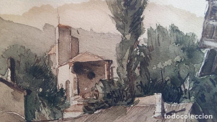 Arte: Joan Colom I Agusti-Arenys de Mar 1879-1969 , Navarra ,acuarela Fdo. Med.44x57 (manchas en papel ) - Foto 4 - 82962276