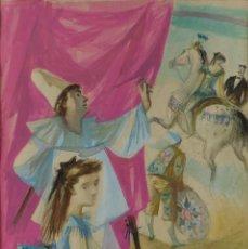 Arte: ALFREDO OPISSO CARDONA (BARCELONA, 1907-1980) ACUARELA Y GUACHE SOBRE PAPEL ESCENA CIRCENSE FIRMADA. Lote 83025572