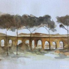 Arte: ACUARELA TAMAÑO A3. PUENTE ABADONADO. Lote 83253756