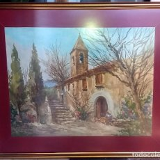 Arte: MARIANO BRUNET - VIC 1918 - SAN GINÉS DE LOS AGUDELLS - 64X50 CON MARCO Y CRISTAL 84X70. Lote 83602216