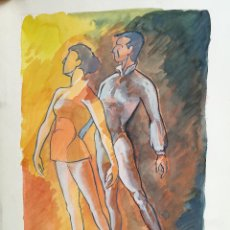 Arte: ACUARELA ORIGINAL JAUME CARBONELL CASTELL,,, (BARCELONA, 1942 - 2010). BALLET DANZA 1961. Lote 83789552