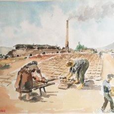 Arte: ACUARELA ORIGINAL JAUME CARBONELL CASTELL,(BARCELONA, 1942 - 2010). 1962 FIRMADA !!! BOVILA LADRILLO. Lote 83790284