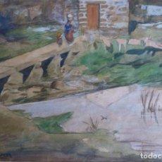 Arte: CARLOS SOBRINO (PONTEVEDRA 1885- VIGO 1978). A PONTE. ACUARELA.. Lote 83887808