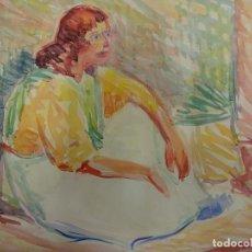Arte: JOAN CARDELLA CRUSELLS. GITANA. ACUARELA ORIGINAL. FIRMADA Y FECHADA EN 1960. 37 X 28 CTMS.. Lote 84439368