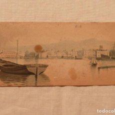 Arte: ACUARELA ORIGINAL – PUERTO DE BARCELONA / DRASSANES, COLÓN Y TINGLADOS – ANÓNIMO . Lote 84443212