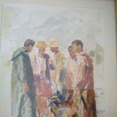 Arte: ACUARELA DEL PINTOR R. HANBALI. MARCO ANTIGUO. 40 X 31'5 CM.. Lote 84740364