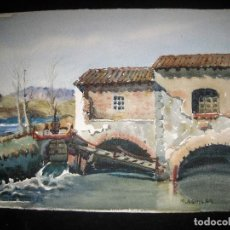 Arte: ACUARELA DE MIGUEL AGUILAR AGUILAR.33X26. MANLLEU 1900 - BARCELONA 1988. DEIXEPLE DE DOMENECH SOLER.. Lote 84913816