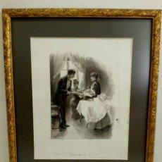 Arte: DIBUJO ORIGINAL ILUSTRACIÓN SUECA AGUADA TINTA MODERNISTA, ART NOUVEAU, JUGENDSTIL, 1900. Lote 85315944