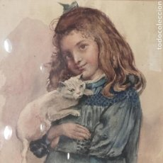 Arte: NIÑA CON GATO. ACUARELA ANTIGUA CON FIRMA ILEGIBLE Y MARCO DORADO.. Lote 85383514