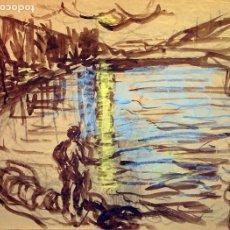 Arte: HENRI BOULAGE PINTOR POST IMPRESIONISTA MONMARTRE PARIS FRANCE FRANCIA LAPIZ Y ACUARELA. Lote 85466004