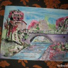 Arte: PUENTE COLORIDO,30 X 40,ACUARELA. Lote 85644776