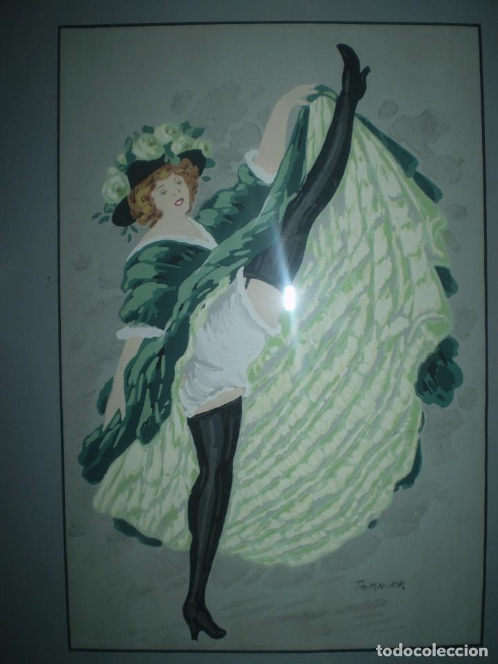 Arte: ACUARELA BAILARINA DE CANCAN FIRMADA TOURNIER - Foto 2 - 85663584