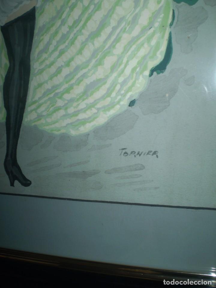 Arte: ACUARELA BAILARINA DE CANCAN FIRMADA TOURNIER - Foto 3 - 85663584