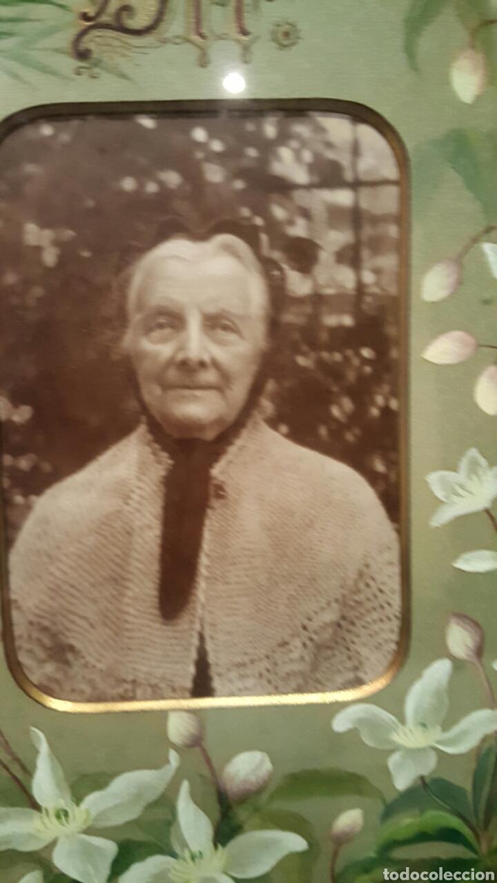 Arte: 1893 Antigua acuarela, s.XIX Alemania con fotografia,flores, La paz sea contigo. 40x50cm - Foto 3 - 85669982