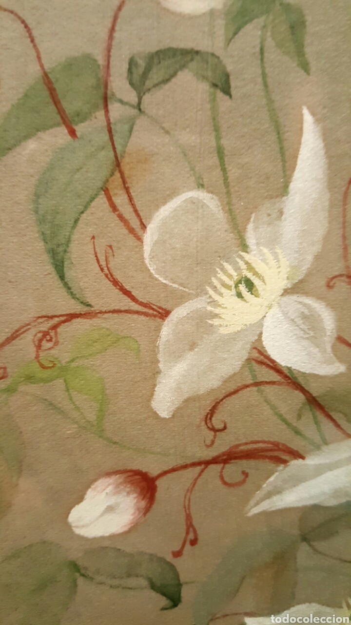 Arte: 1893 Antigua acuarela, s.XIX Alemania con fotografia,flores, La paz sea contigo. 40x50cm - Foto 4 - 85669982
