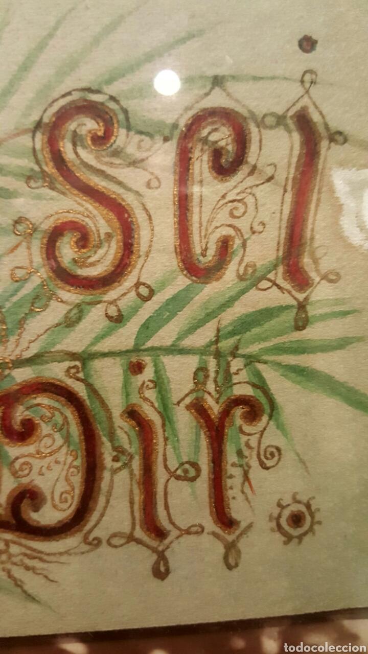 Arte: 1893 Antigua acuarela, s.XIX Alemania con fotografia,flores, La paz sea contigo. 40x50cm - Foto 5 - 85669982