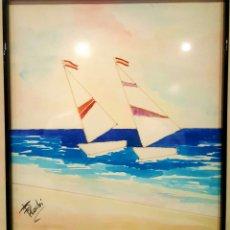 Arte: RODRÍGUEZ PÉREZ, FRANCISCO (FRAN RODRI) ROTULADOR Y ACUARELA, BARCOS. 34X36CM(ENMARCADO). Lote 85676484