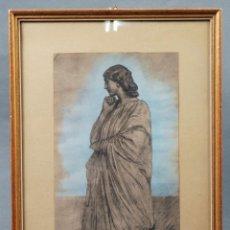 Arte: DIBUJO ACUARELA DAMA CLÁSICA ANSELM FEUERBACH (ALEMANIA 1829 - VENECIA 1880). Lote 86086624