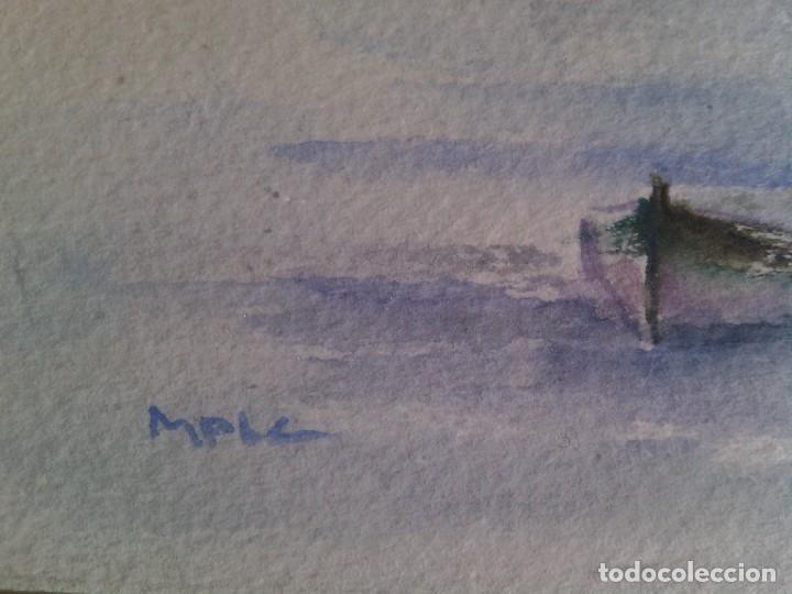 Arte: PANORAMICA COSTERA. ACUARELA MINIMALISTA SOBRE PAPEL. FIRMADA MPIC. ENMARCADA. - Foto 2 - 86338524