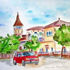 Arte: SABADELL - GRAN VIA ACUARELA ORIGINAL ÚNICA FIRMADA Y CERTIFICADA. Lote 86489880